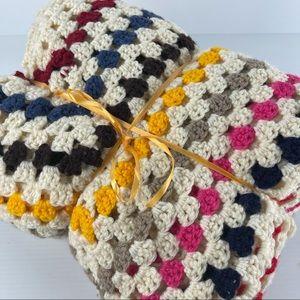 Multi-Colour Crochet Blanket Throw 150 x 150cm